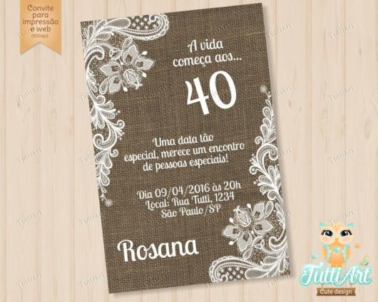 Festa 40 anos masculina: convite feminino
