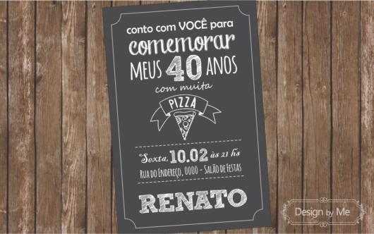 Festa 40 anos masculina: convite chalkboard