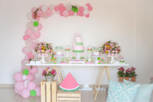 decoração festa rosa