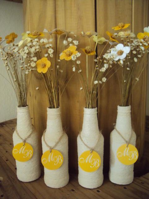 Garrafas decoradas para casamento rústico