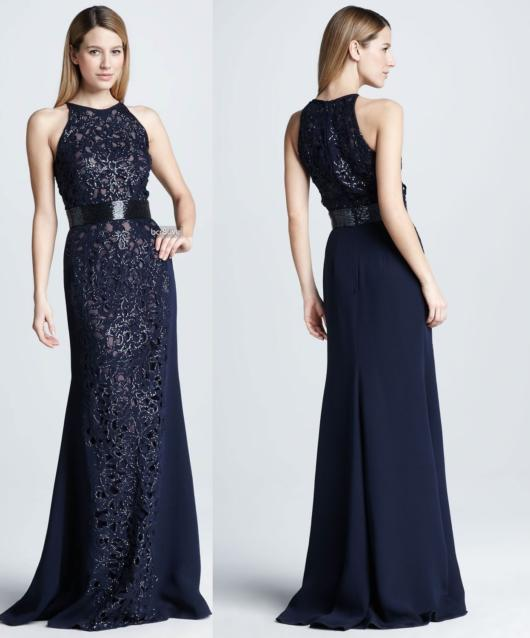 vestido de madrinha azul marinho