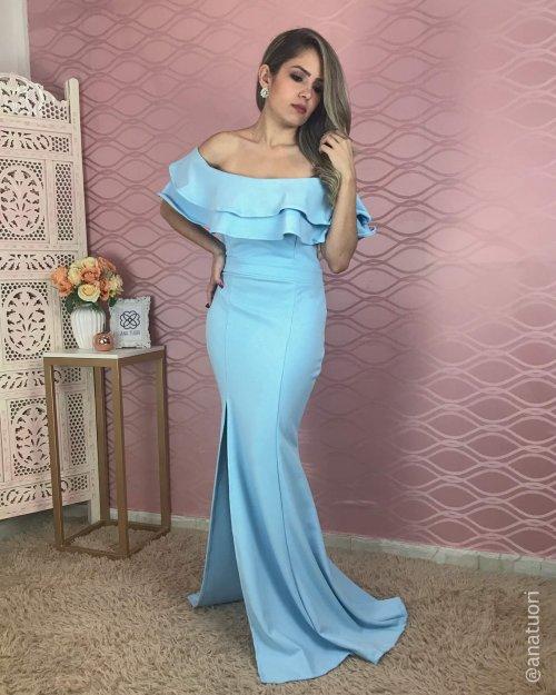 Vestido azul bebê para madrinhas