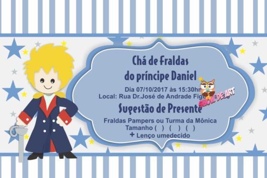 Convite pequeno príncipe com o desenho dele.