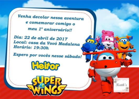 Convite super wings.