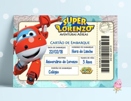 Convite super wings como cartão de embarque.