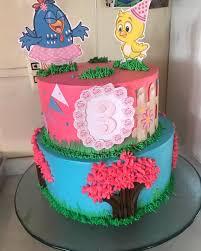 topo de bolo galinha pintadinha rosa e azul.