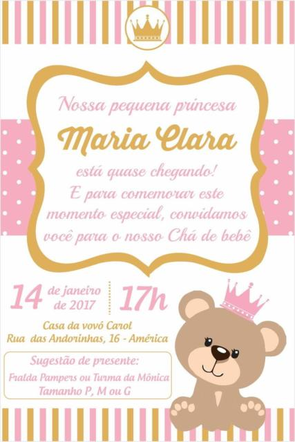 Convite de chá de bebê princesa