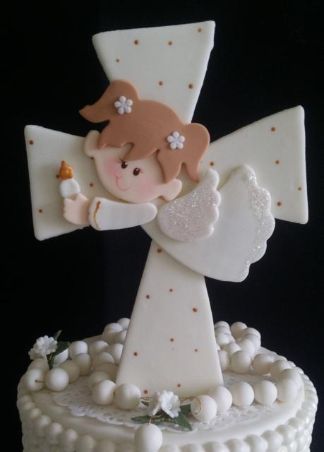 topo de bolo de batizado asas com brilho