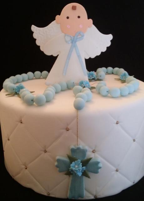 topo de bolo de batizado com anjo azul e branco