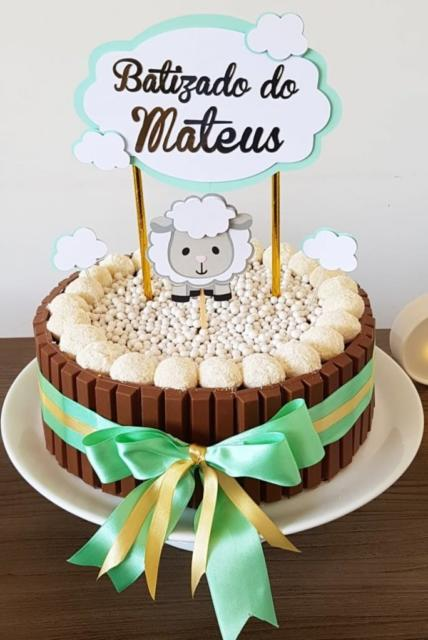 topo de bolo de batizado com ovelha batizado