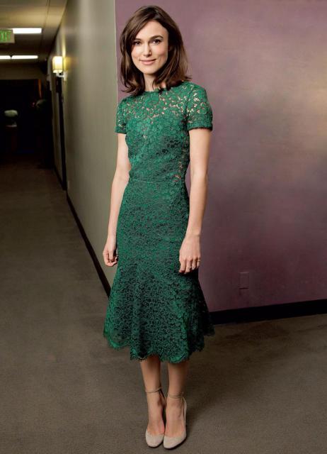 vestido de festa estampado renda verde musgo