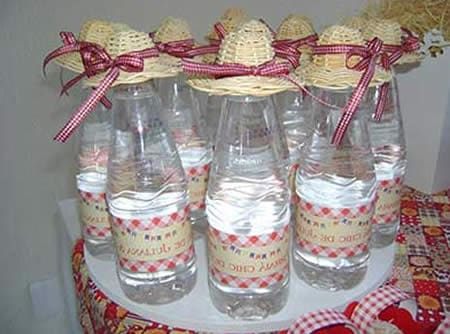 águas para chá de bebê junino