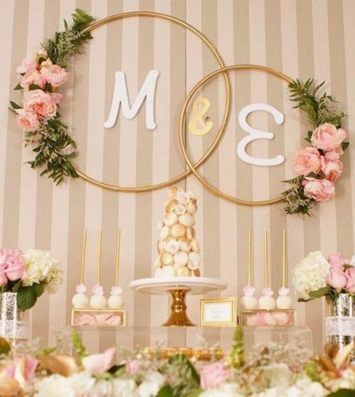festa decorada em rosa e dourado
