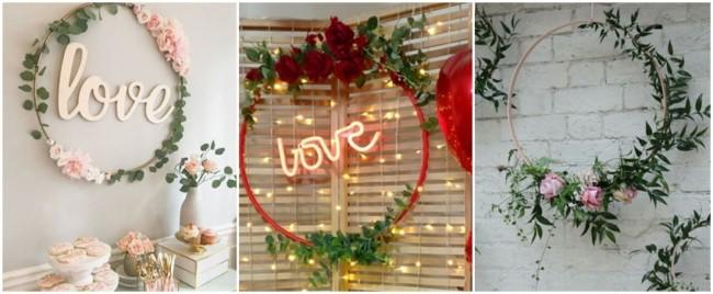 decoração com bambolê e flores