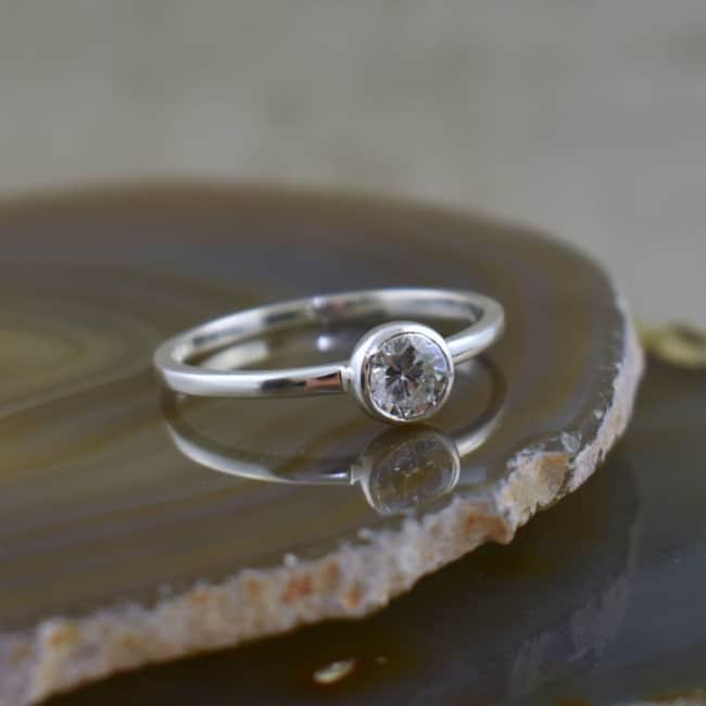 anel feminino de prata