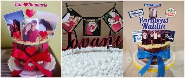 topo de bolo simples decorados com fotos