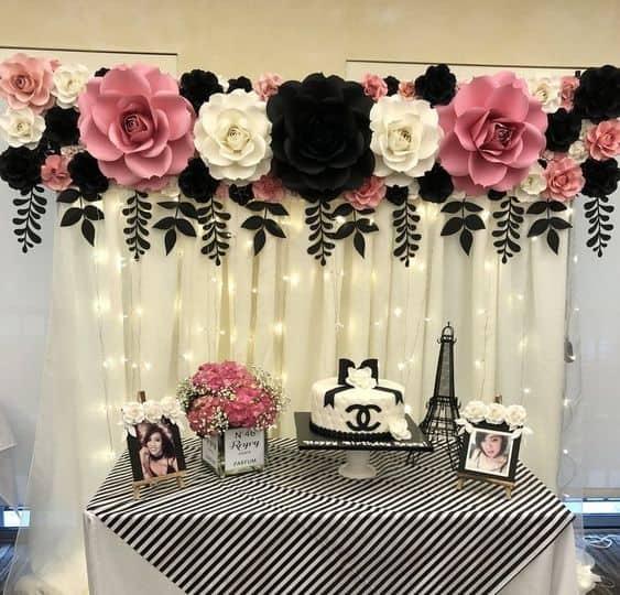 decoração festa em preto e rosa
