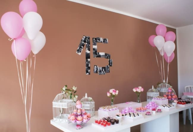 decoração com fotos para festa