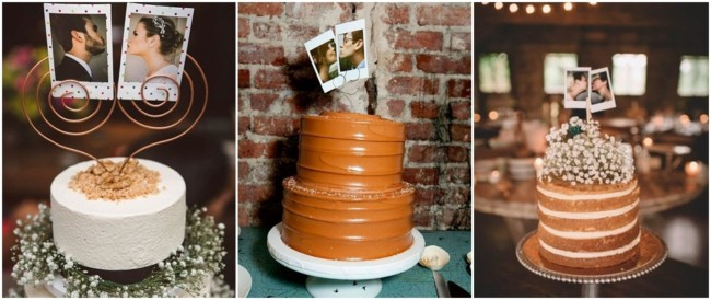 bolos decorados com fotos polaroid