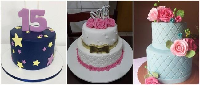 bolos de pasta americana para festa de 15 anos simples