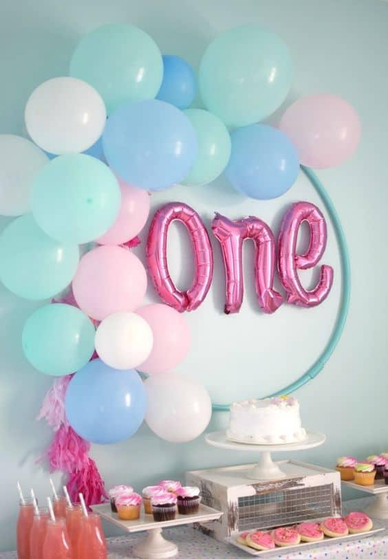 decoração festa infantil azul e rosa