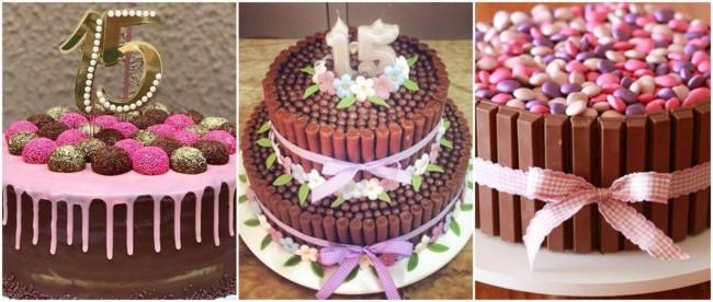 bolos de chocolate para festa de 15 anos simples