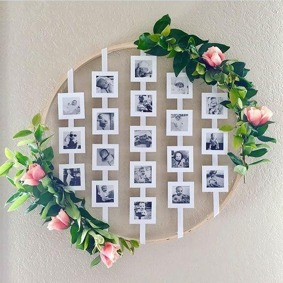 decoração com foros e flores