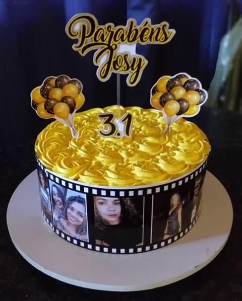bolo decorado com chantilly e personalizado