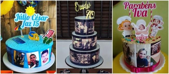 bolo com fotos ao redor
