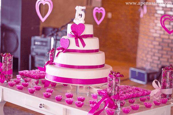 decoração pink aniversário 15 anos