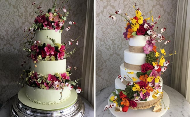 Bolo de casamento com flores de açúcar