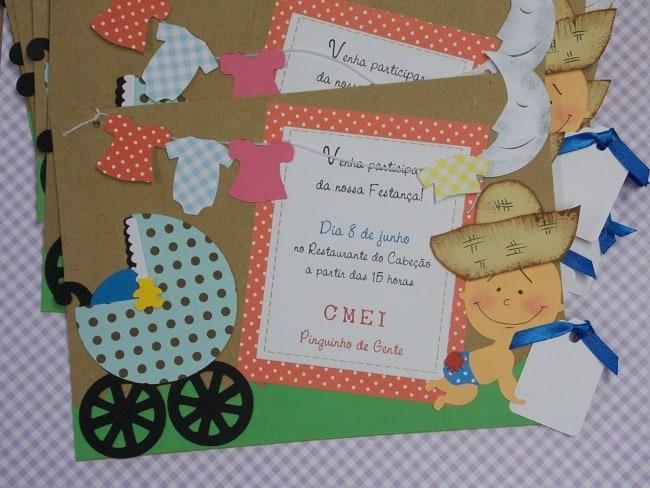 Convite artesanal para chá de bebê junino