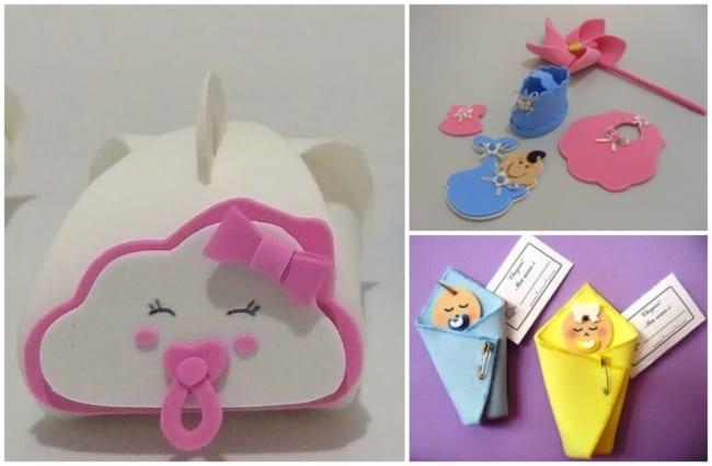 Diversas ideias de lembrancinhas para chás de bebê de EVA
