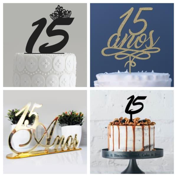 Montagem de topo de bolo de 15 anos de básico