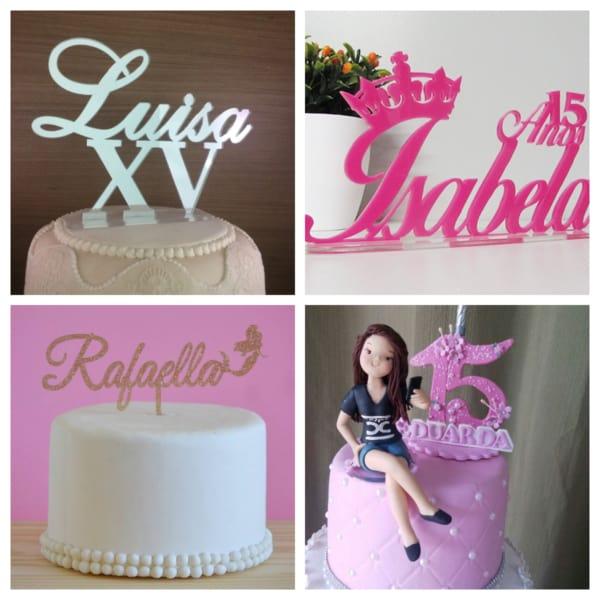 Montagem de topo de bolo de 15 anos com nome