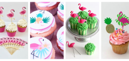 Montagem de cupcake de flamingos