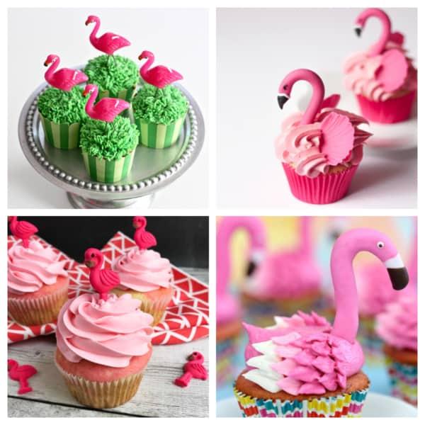 Montagem de cupcake de flamingos em pé