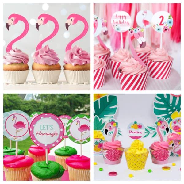 Montagem de cupcake de flamingos com plaquinhas