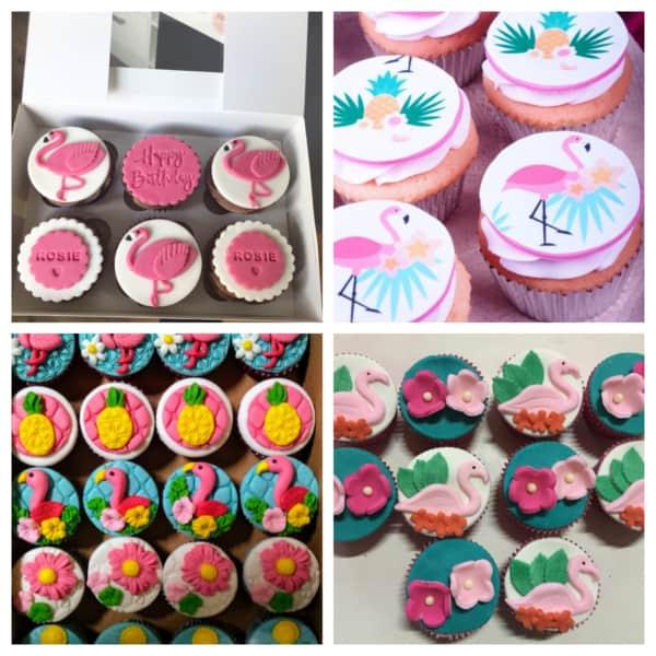 Montagem de cupcake de flamingos sem chantili