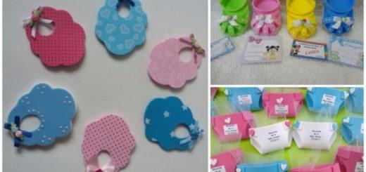 Lembrancinhas com EVA colorido para chá de bebê