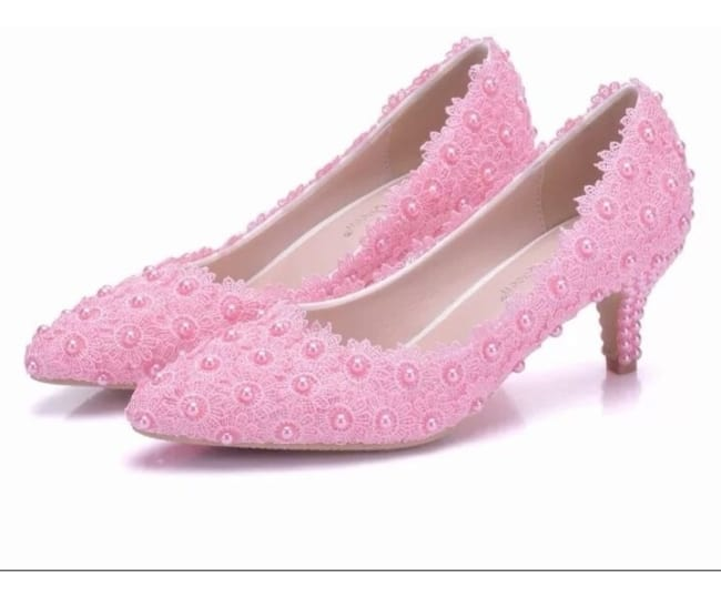 Sapato baixinho rosa bebê com pérola