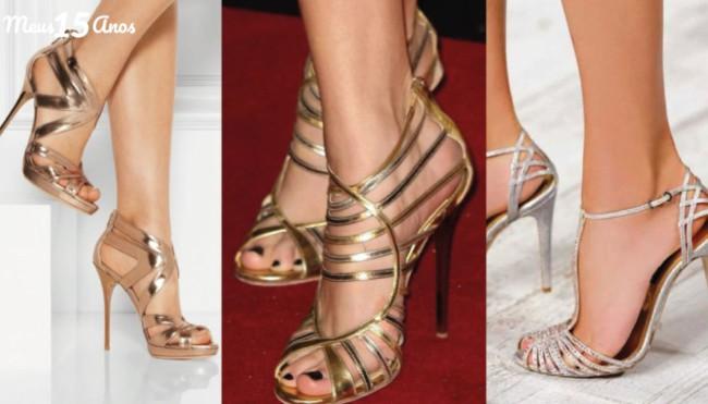 Sapatos metalizados para festas de 15 anos