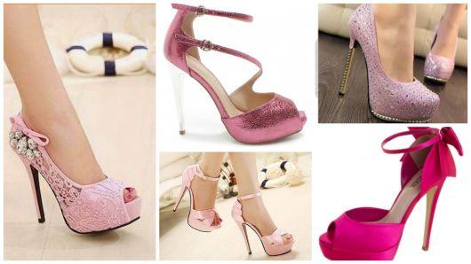 Sapatos rosas para debutantes