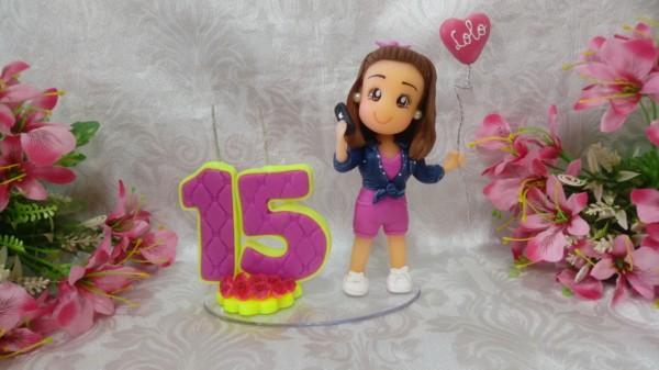 Topo de bolo 15 anos boneca biscuit