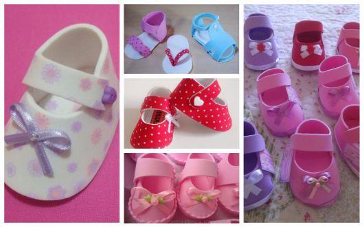 Vários sapatinhos de eva para chá de bebê feminino