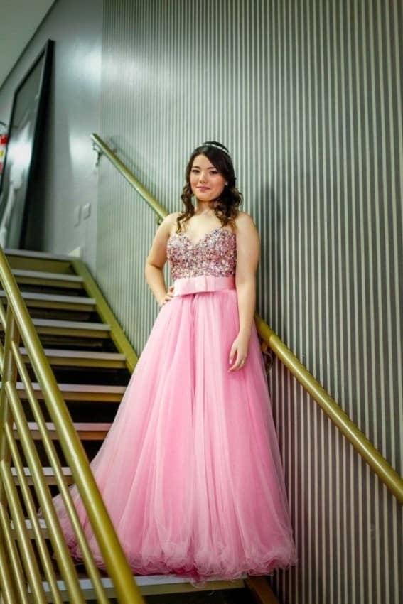 Vestido rosa de debutantw