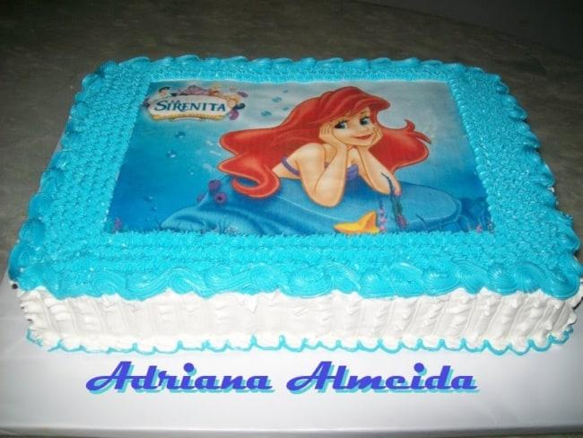 bolo azul da pequena sereia