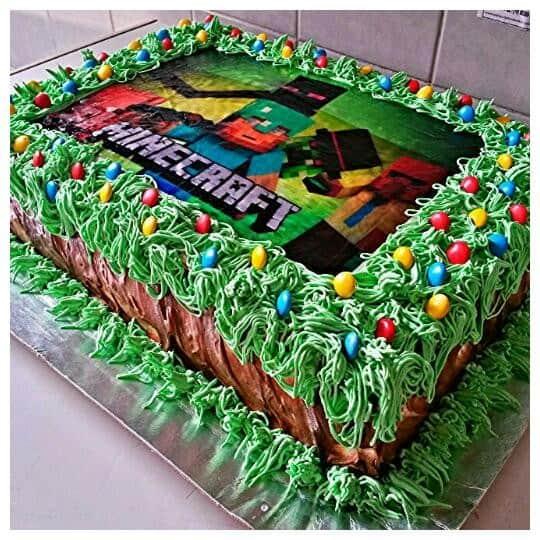 bolo com papel de arroz de minecraft verde