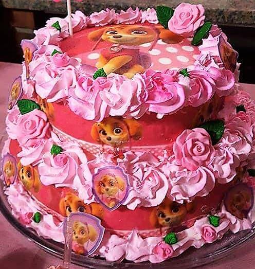 bolo com papel de arroz rosa da patrulha canina