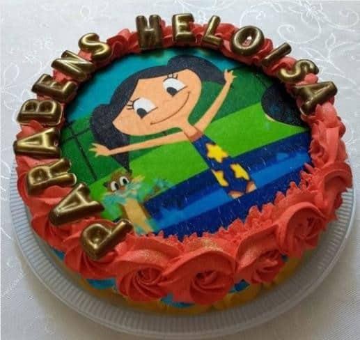 bolo de aniversário com papel de arroz do show da luna